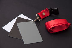 Grey card for white balance on the black background Stock Photos