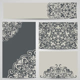 Grey cards with floral ornaments Stock Image