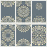 Grey cards with floral ornaments Royalty Free Stock Photo