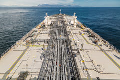 Grey cargo deck of a big oil tanker Royalty Free Stock Photos