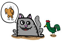 Grey cartoon cat with chicken Royalty Free Stock Photos