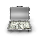 Grey case with money Royalty Free Stock Photo