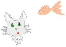 Grey cat looking at the angry fish. Funny illustration of the cat and fish Royalty Free Stock Image