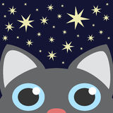 Grey Cat Looking Up In Night Star Sky. Vector Illustration Royalty Free Stock Photo