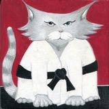 Hand painted cartoon cat Sensei Karate Martial Arts Black Belt Master. Grey cat sensei with black belt ready to compete in martial arts tournament or visit Japan Vector Illustration