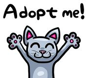 Grey Cat Wants To Be Adopted mignonne illustration stock