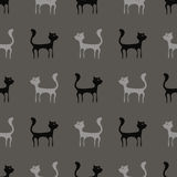 Grey Cats Seamless Pattern noir Photographie stock libre de droits
