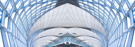 Grey ceiling of office building, panorama stock image