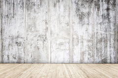Grey cement wall with wooden plank texture and background. Close up grey cement wall with wooden plank texture and background Stock Photos