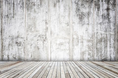 Grey cement wall with wooden plank texture and background Stock Photos
