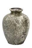 Grey ceramic vase, isolated on white background Stock Photo