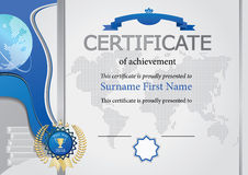 Grey certificate. Blue elements, map and globe. Royalty Free Stock Photos