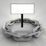 Grey chain circle with clear board Royalty Free Stock Image