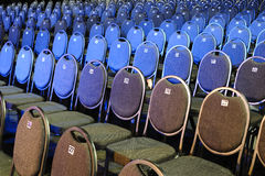 Grey chairs with numbers in a row Royalty Free Stock Photos