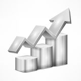 Grey chart with arrow on white Royalty Free Stock Image