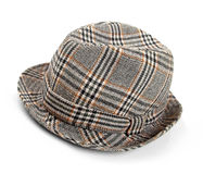Grey checked trilby hat isolated on a white Royalty Free Stock Images