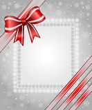 Grey christmas background. With ribbon and snowflake Stock Photo