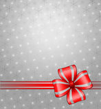 Grey christmas background. With ribbon and snowflake Royalty Free Stock Photography