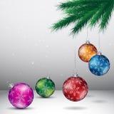 Grey Christmas Background avec le vecteur coloré brillant Illu de boules illustration stock