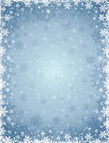 Grey christmas background with  frame of snowflakes and stars Royalty Free Stock Images