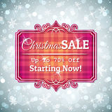 Grey  christmas background and  label with sale offer Stock Image