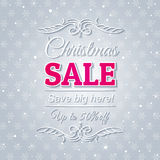 Grey christmas background and sale offer Royalty Free Stock Photography