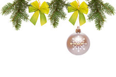 Grey Christmas Ball. Grey Christmas ball  and green fir branches isolated on white background Stock Photo