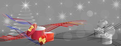 Grey christmas banner with color ribbons and gift boxes Royalty Free Stock Photo
