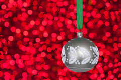 Grey christmas bauble Royalty Free Stock Photography