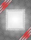 Grey christmas frame. Grey christmas background with ribbon and snowflake Royalty Free Stock Photography