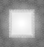 Grey christmas frame. Grey christmas background with ribbon and snowflake Stock Images