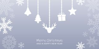 Grey christmas greeting card with snowflake border and hanging decoration vector illustration