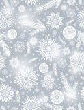 Grey Christmas seamless pattern background with snowflakes stock illustration