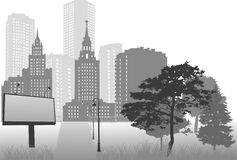 Grey city landscape with billboard Stock Images