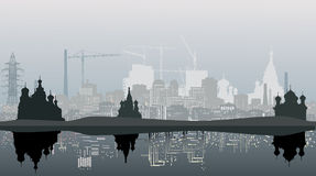 Grey city landscape with reflecion Royalty Free Stock Images