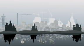 Grey city landscape with reflecion vector illustration