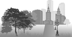 Grey city landscape with trees Royalty Free Stock Image