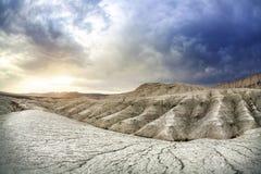 Grey Clay Mountains på solnedgången Fotografering för Bildbyråer