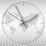 Grey Clock On World Map Background Royalty Free Stock Photography
