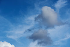 Grey clouds on blue sky. Heaven background. Freedom at space Royalty Free Stock Images