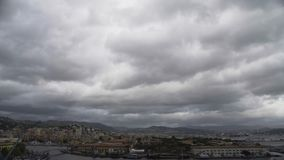 Grey clouds flying over Pisa city, view of ancient beautiful town in Italy stock footage
