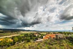 Grey clouds over Sardinian countryside Stock Photos