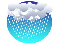 Grey clouds and rain drops on a dark-blue sky. Background royalty free illustration