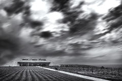 Grey clouds. Storm in coming over the winery Stock Photos