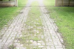 Grey cobblestone concrete walkingpath toward to the opened door with grass on the sides. Way to home concept Stock Photography