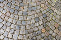 Grey cobblestone pavement after the rain in the Czech Republic Stock Photos