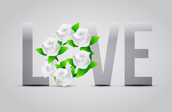 Grey color Love flowers illustration designs Royalty Free Stock Images