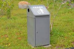 Grey Color Trash Bin Stock Images