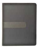 Grey colored note book. Blank leather grey colored note book cover with label Royalty Free Stock Photo