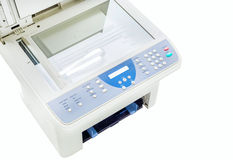 Grey computer printer isolated Royalty Free Stock Photo